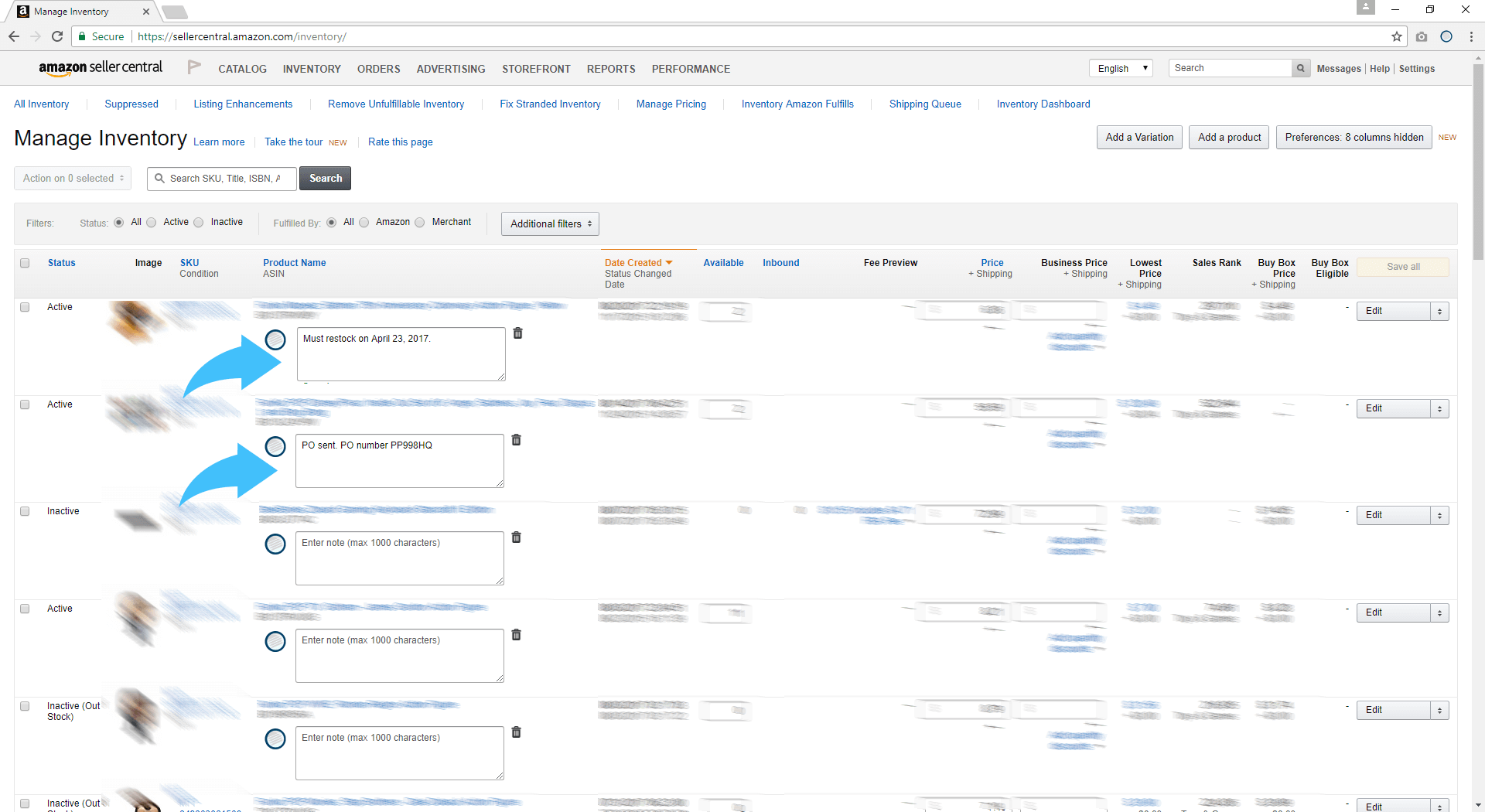 Executar o Amzpecty na página do Amazon Manage Central Manage Inventory
